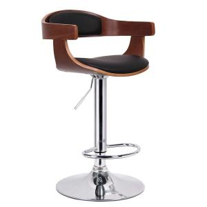 Internet #206744167. Baxton Studio Garr Brown Wood and Black Faux Leather Adjustable Bar Stool  sc 1 st  The Home Depot & Baxton Studio Garr Brown Wood and Black Faux Leather Adjustable ... islam-shia.org