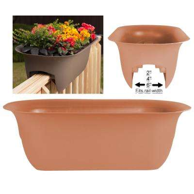 24 in. Terra Cotta Modica Deck Rail Planter