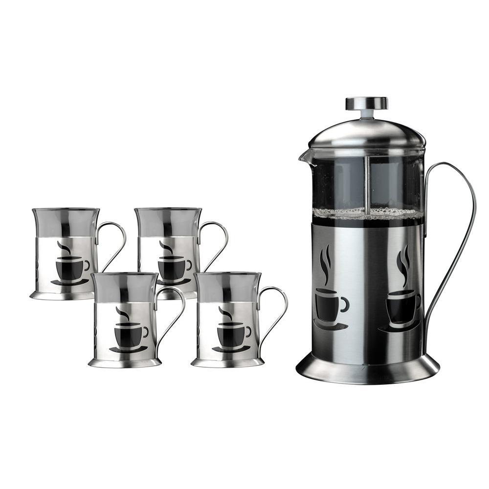 french press coffee set 4 mugs tea plunger cups dishwasher safe gift set maker 5413821008134 ebay. Black Bedroom Furniture Sets. Home Design Ideas