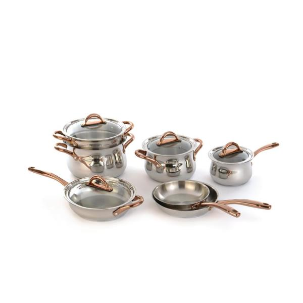 BergHOFF Ouro 11-Piece Rose Gold Cookware Set with Lids