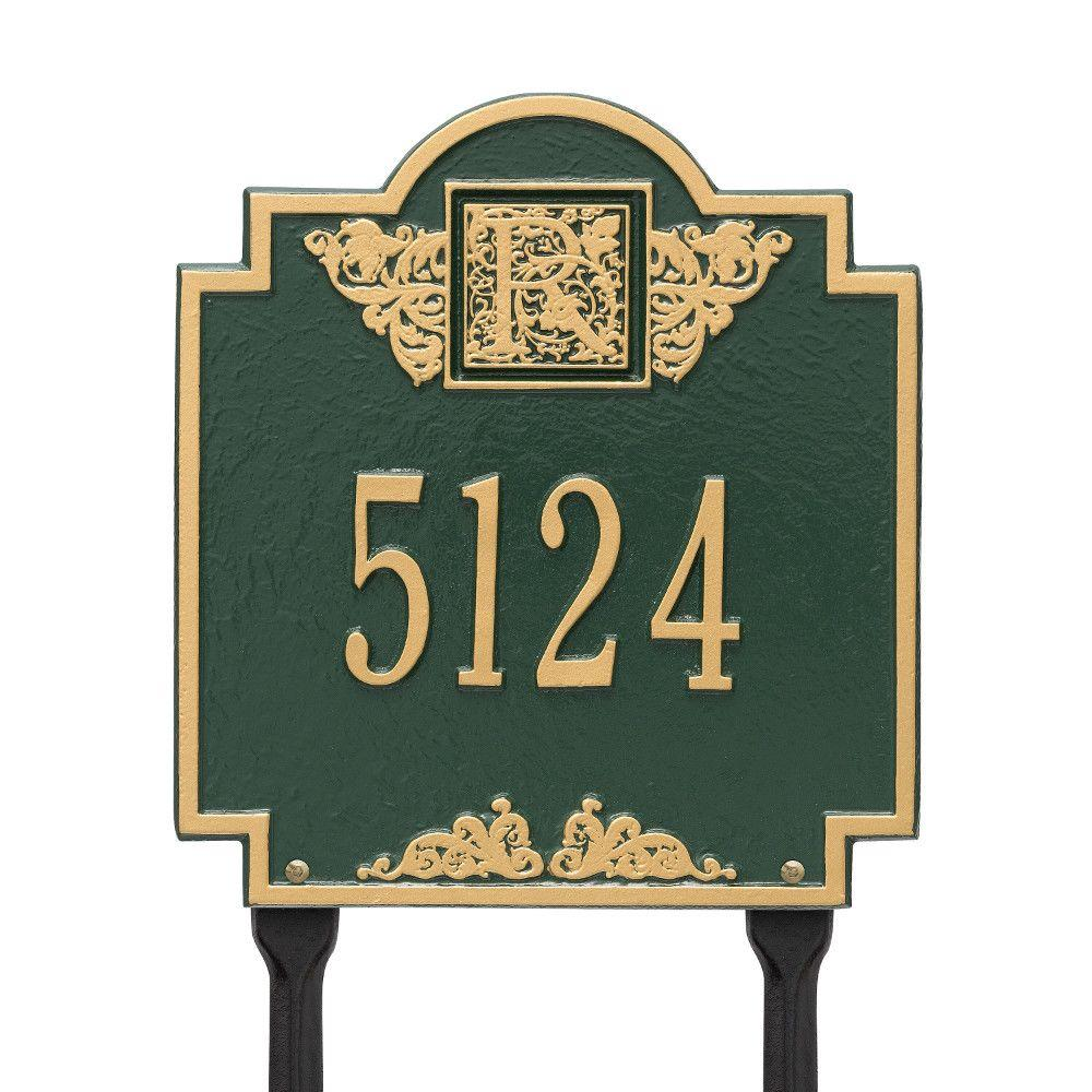 Monogram Standard Lawn Square Green/Gold 1-Line Address Plaque