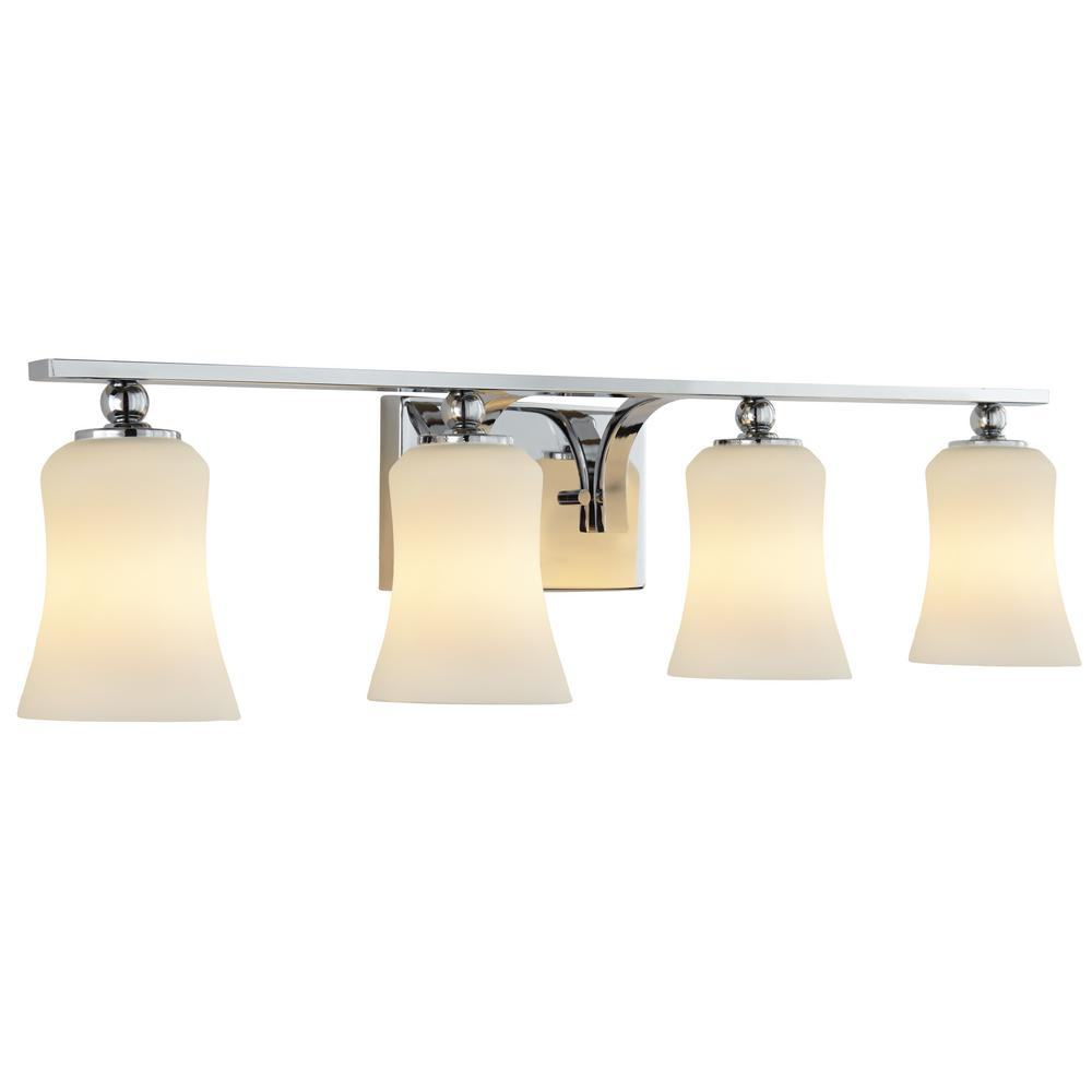 Home decorators collection 4 light polished chrome vanity light with frosted oval glass shades Home decorators lamp shades