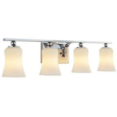 4 light chrome square bath vanity light with etched white glass