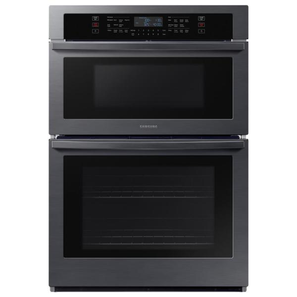 30 in. 1.9/5.1 cu. ft. Microwave Combination Wi-Fi Electric Wall Oven in Black Stainless Steel