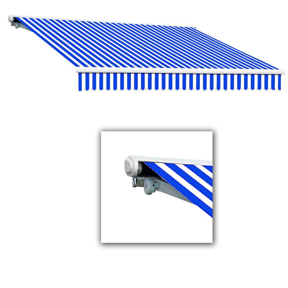 AWNTECH 20 ft. Galveston Semi-Cassette Right Motor Retractable Awning with Remote (120 in. Projection) in Blue/White