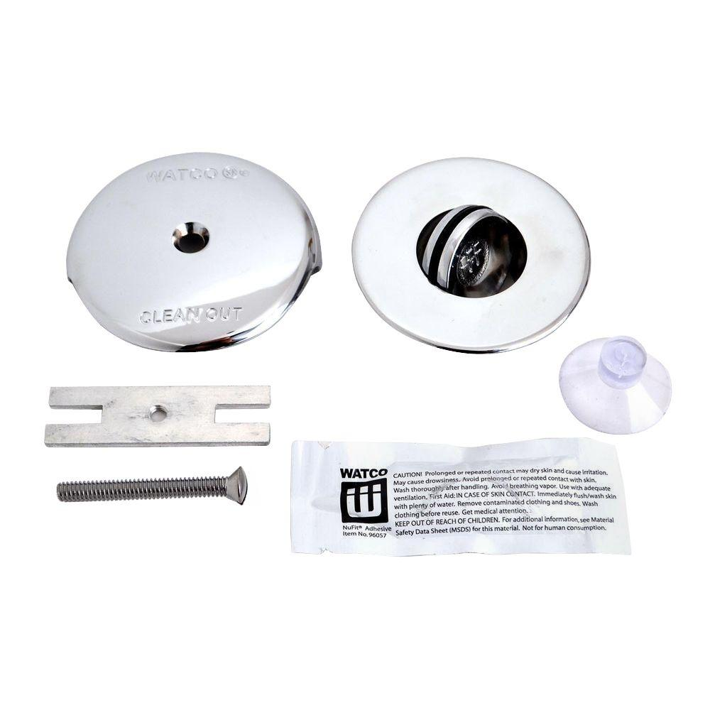 Watco NuFit PresFlo Bathtub Stopper With One Hole Overflow And Silicone Kit In Chrome Plated