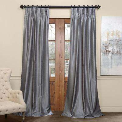 Storm Grey Gray Blackout Vintage Textured Faux Dupioni Pleated Curtain - 25 in. W x 84 in. L