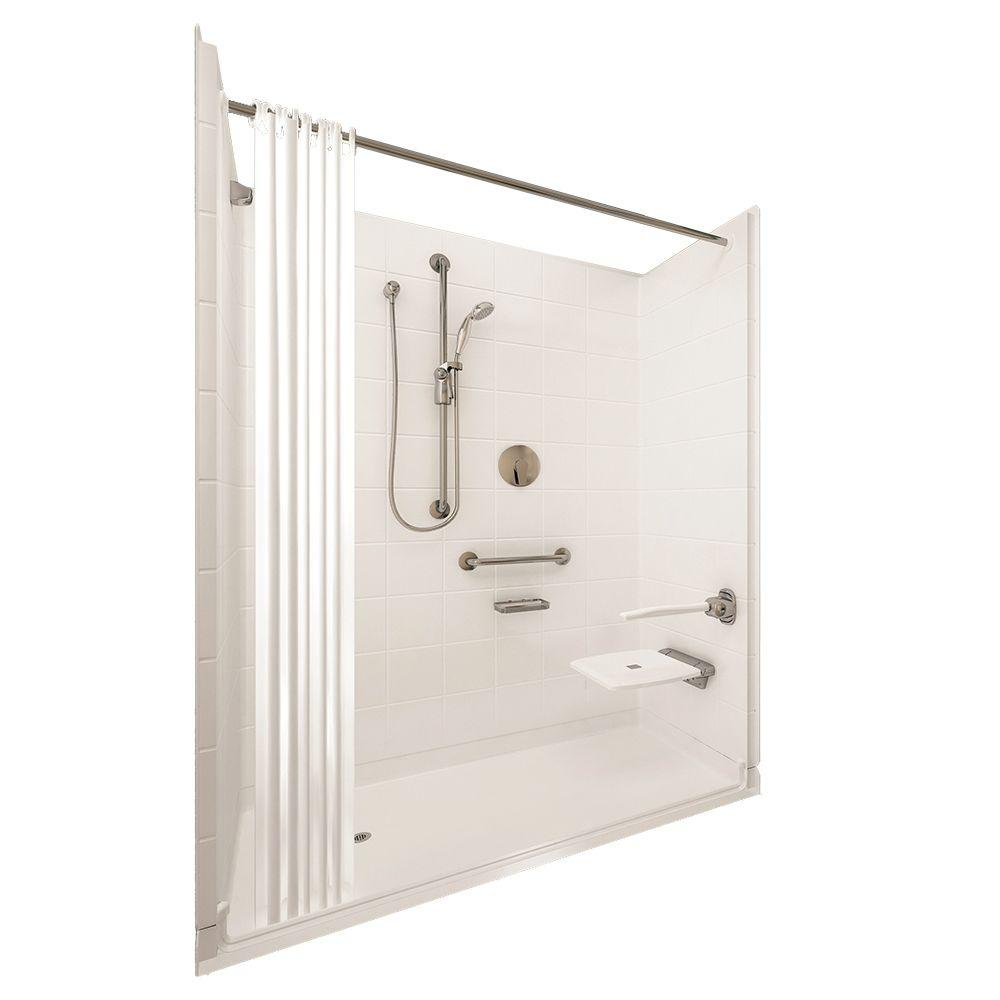 Ella Elite Brilliant 33-4/12 in. x 60 in. x 77-1/2 in. 5-piece Barrier Free Roll In Shower System in White with Left Drain