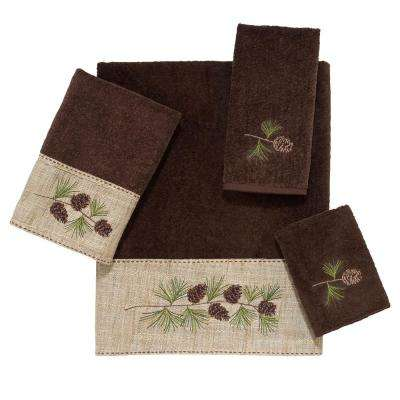 Pine Branch 4-Piece Bath Towel Set in Mocha
