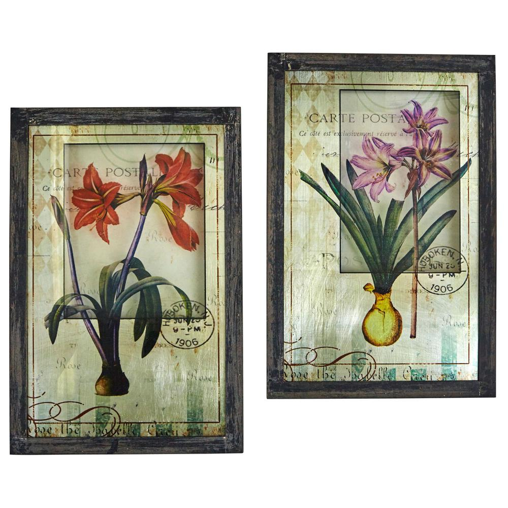 Nearly Natural Framed French Floral Art Prints Set Of 2