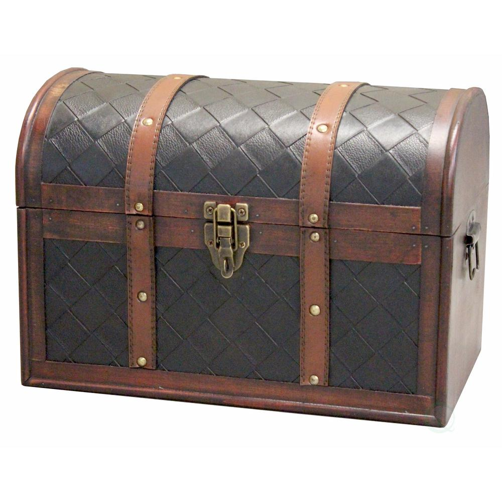 Merveilleux Vintiquewise Decorative Brown Storage Trunk With Lockable Latch
