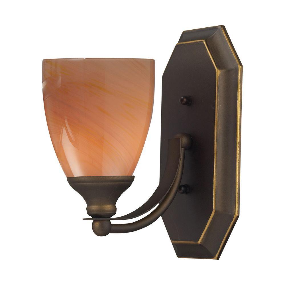 Titan Lighting 1-Light Aged Bronze Wall Mount Vanity Light