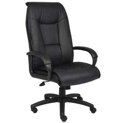 Executive High Back Leather Chair. Black Leather. Back Frame. Pillow Comfort Design. Pneumatic lift.