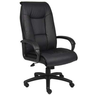 Black Executive Leather Plus Chair with Padded Arm