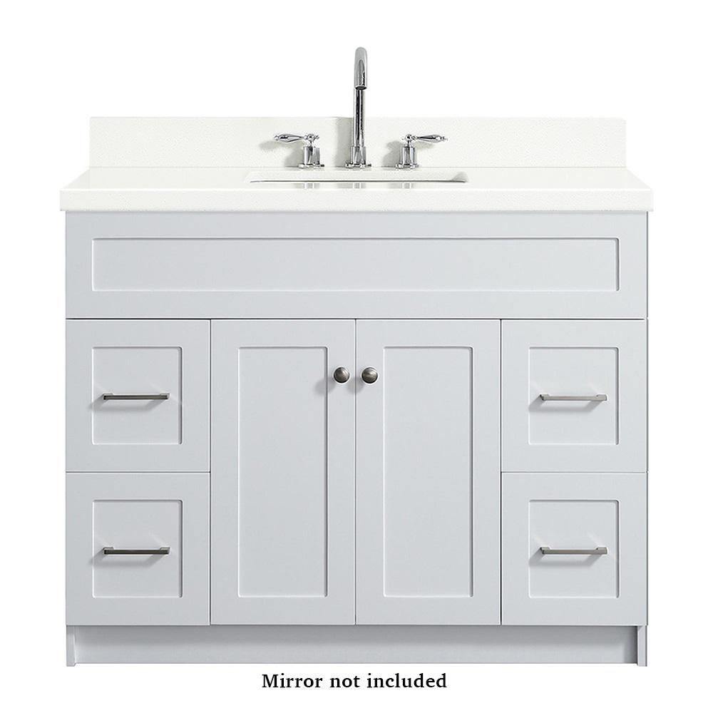 Ariel Hamlet 43 in. Bath Vanity in White with Quartz Vanity Top in White with White Basin