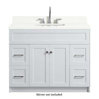 Hamlet 43 in. Bath Vanity in White with Quartz Vanity Top in White with White Basin