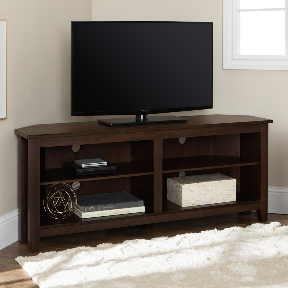 WalkerEdisonFurnitureCompany Walker Edison Furniture Company Essential Espresso Entertainment Center, Brown