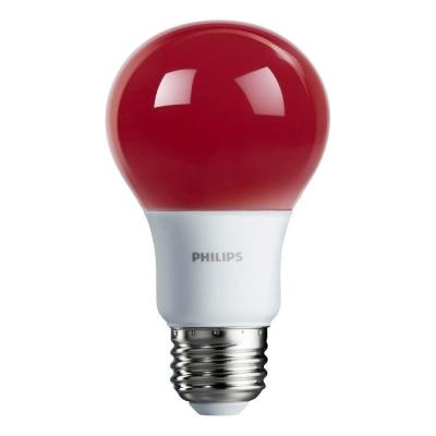 60-Watt Equivalent A19 Non-Dimmable Red LED Colored Light Bulb (4-Pack)
