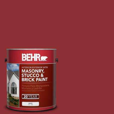 1 gal. #BXC-27 Carriage Red Satin Interior/Exterior Masonry, Stucco and Brick Paint