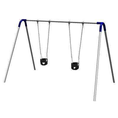 Playground Single Bay Commercial Bipod Swing Set with Tot Seats and Blue Yokes