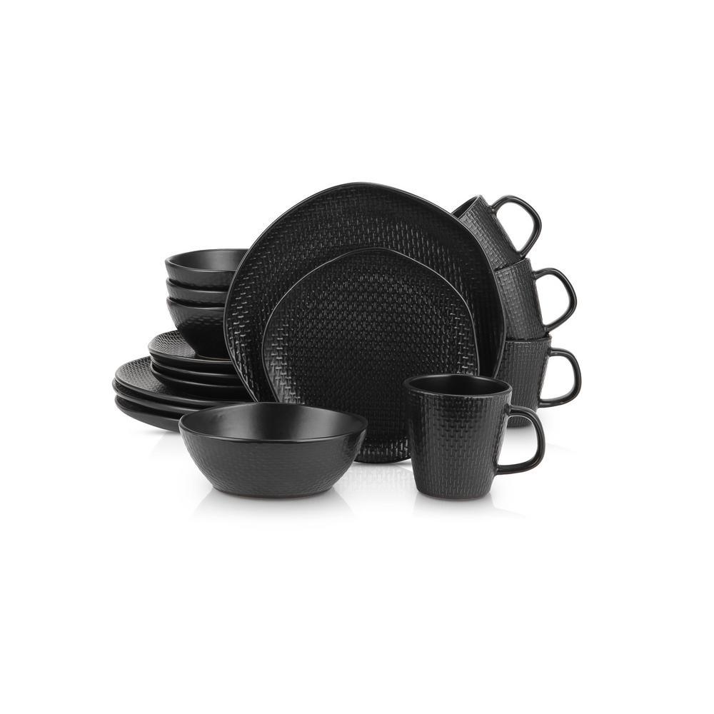 16-Piece Casual Black Stoneware Dinnerware Set (Set for 4)
