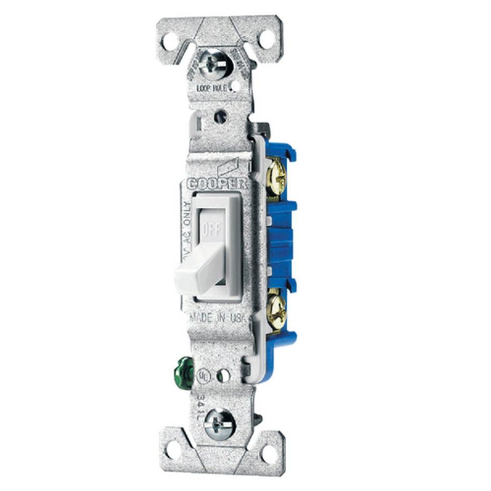 Eaton Standard Grade 15 Amp Single Pole Toggle Switch with Side and Push Wiring - White