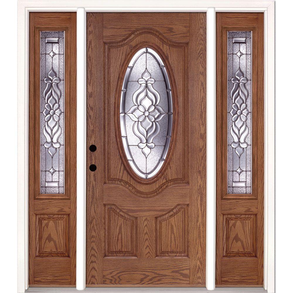 63.5 in.x81.625 in. Lakewood Zinc 3/4 Oval Lite Stained Medium Oak Right-Hand Fiberglass Prehung Front Door w/ Sidelites