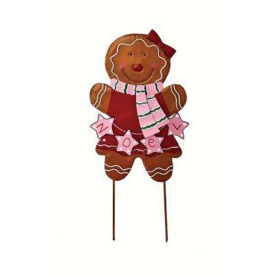 27 in. Metal Gingerbread Girl Stick