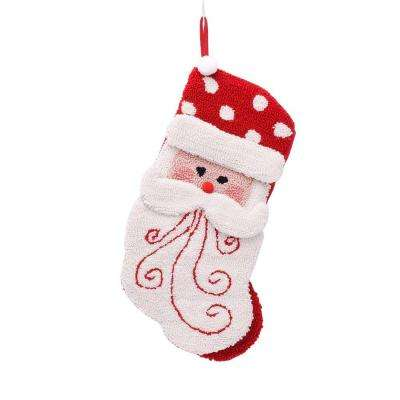20 in. Polyester/Acrylic Hooked 3D Santa Christmas Stocking