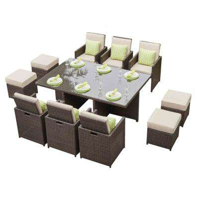 Alisa Aluminum Brown 11-Piece Wicker Outdoor Dining Set with Beige Cushions and Ottmans