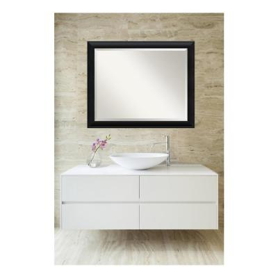 Nero 32 in. W x 26 in. H Framed Rectangular Beveled Edge Bathroom Vanity Mirror in Black