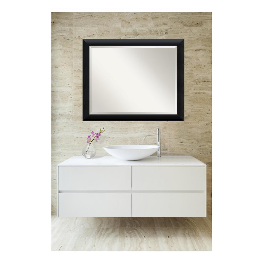 Nero Black Wood 32 in. W x 26 in. H Single Contemporary Bathroom Vanity Mirror
