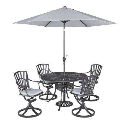 Largo 5-Piece Patio Dining Set with Gray Cushions and Umbrella