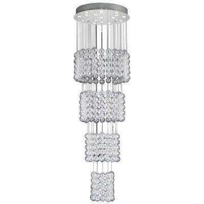 19-Light Polished Chrome Chandelier with Iridescent Glass Shade