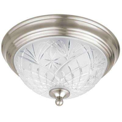 13 in. 2-Light Satin Nickel Flush Mount with Clear Glass Shade