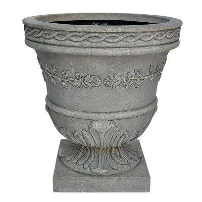 21 in. H. Granite Cast Stone Rose Urn