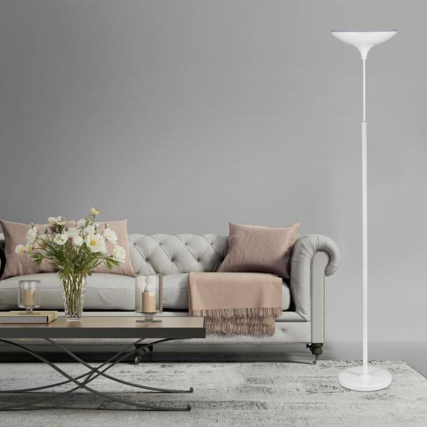 Globe Electric - 71 in. Satin White LED Floor Lamp Torchiere Dimmable with Energy Star