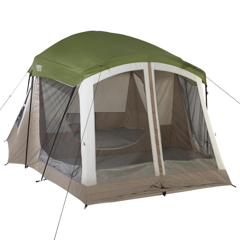 Klondike 8-Person 3-Season Screen Room Camping Tent in Green