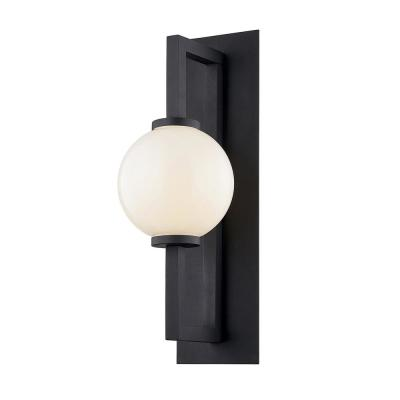Darwin 30 in. Textured Black 1-Light Wall Sconce with Opal White Glass Shade