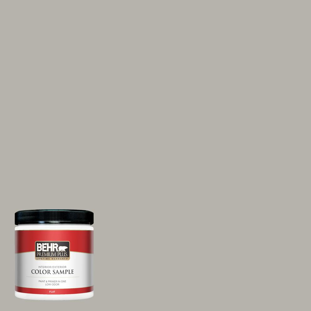Behr Premium Plus 8 Oz Ppu24 11 Greige Flat Interior Exterior Paint And Primer In One Sample Pp10416 The Home Depot