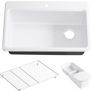 KOHLER Riverby Undermount Cast Iron 33 in  5-Hole Double
