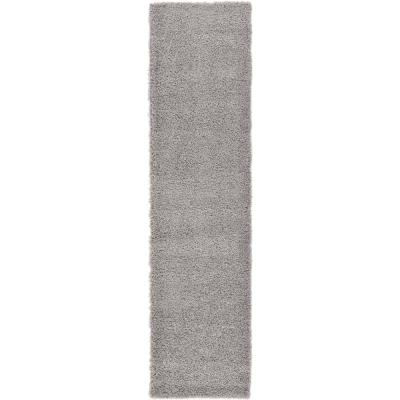 Solid Shag Cloud Gray 10 ft. Runner Rug