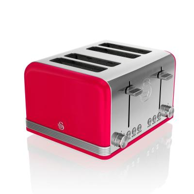 Retro 4-Slice Red Wide Slot Toaster