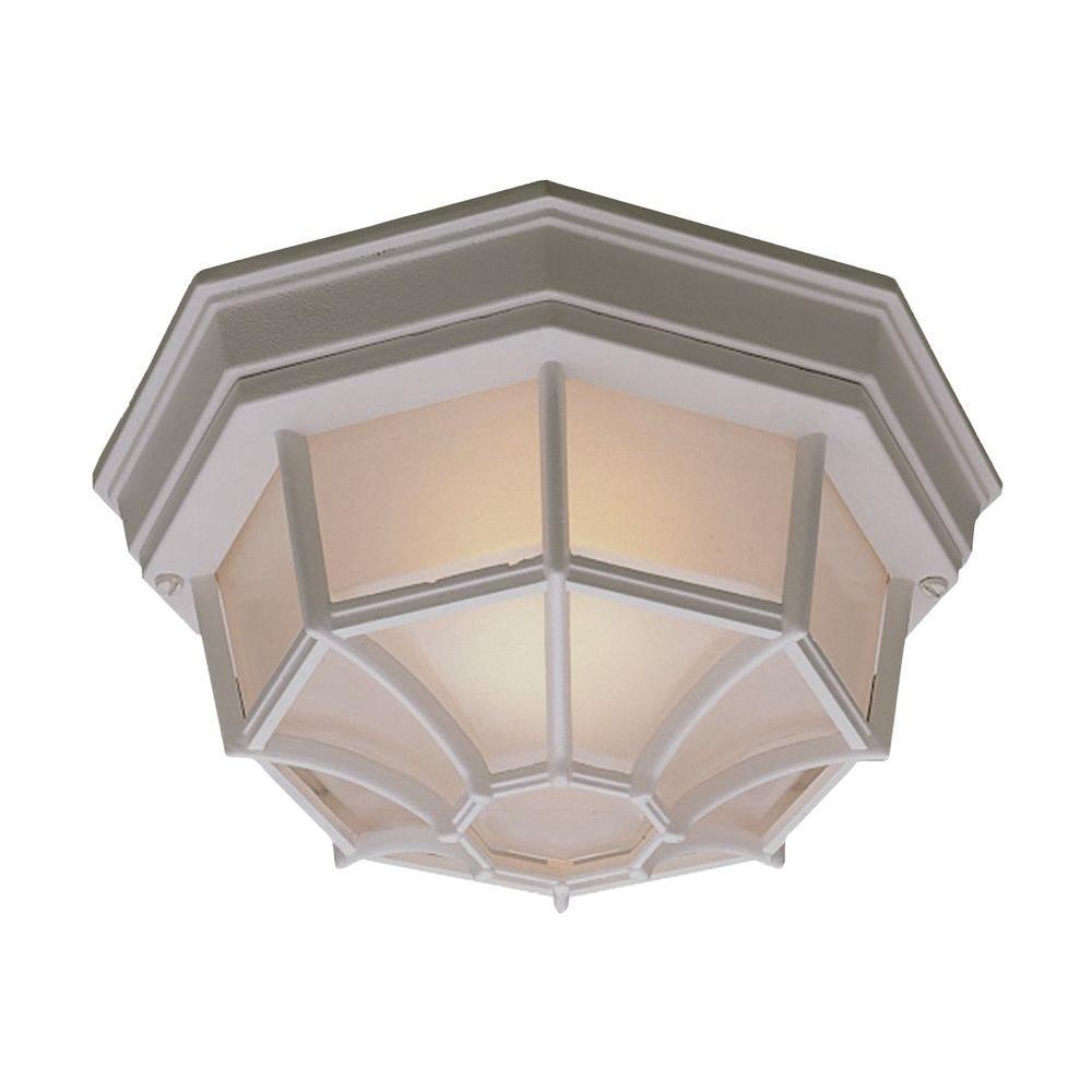 Outdoor Essentials 1-Light Outdoor Flush Mount Matte White Ceiling Fixture