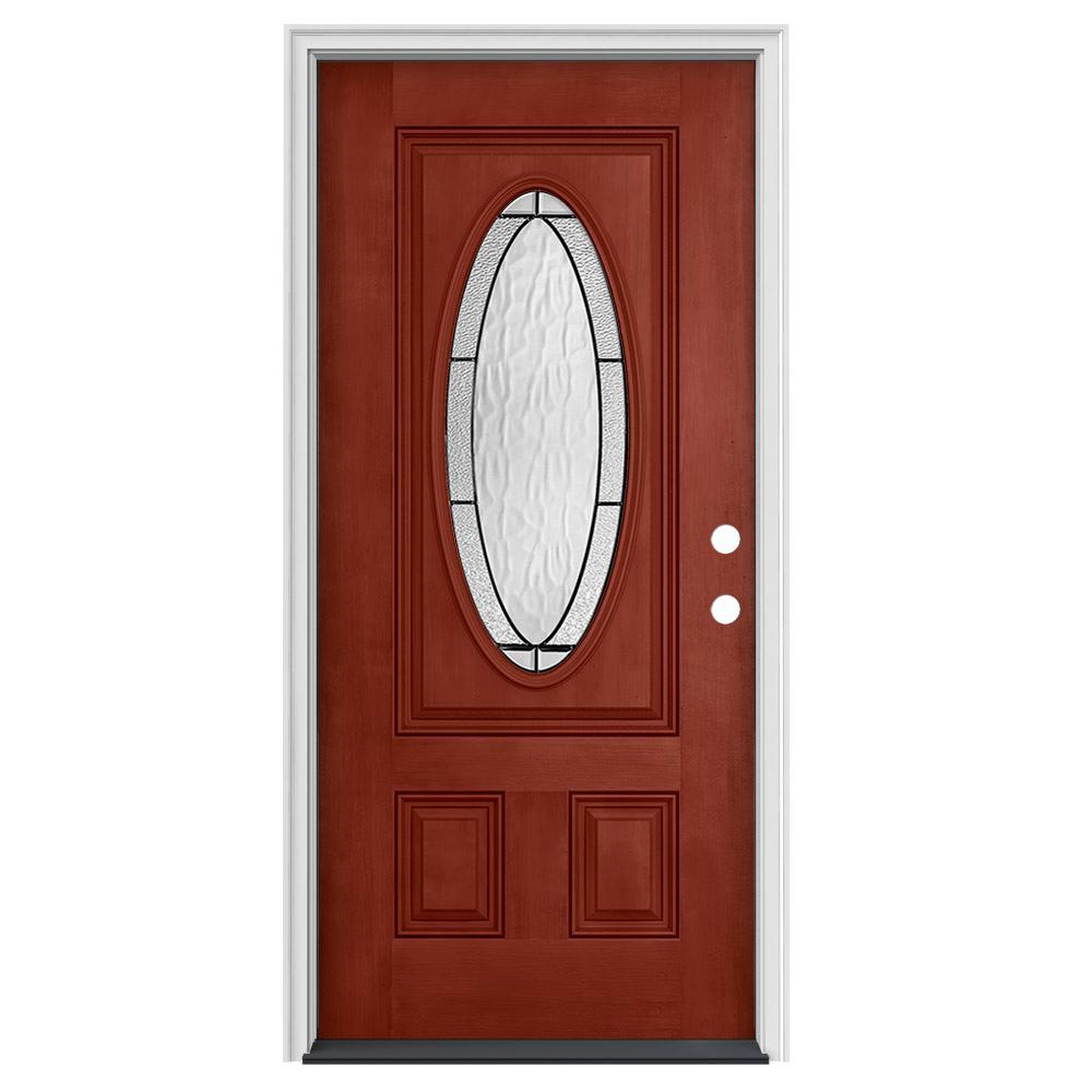 36 in. x 80 in. 3/4 Oval Lite Wendover Black Cherry Stained Fiberglass Prehung Left-Hand Inswing Front Door