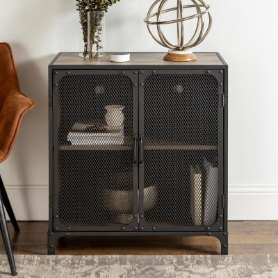 30 in. Grey Wash Industrial Accent Cabinet with Mesh
