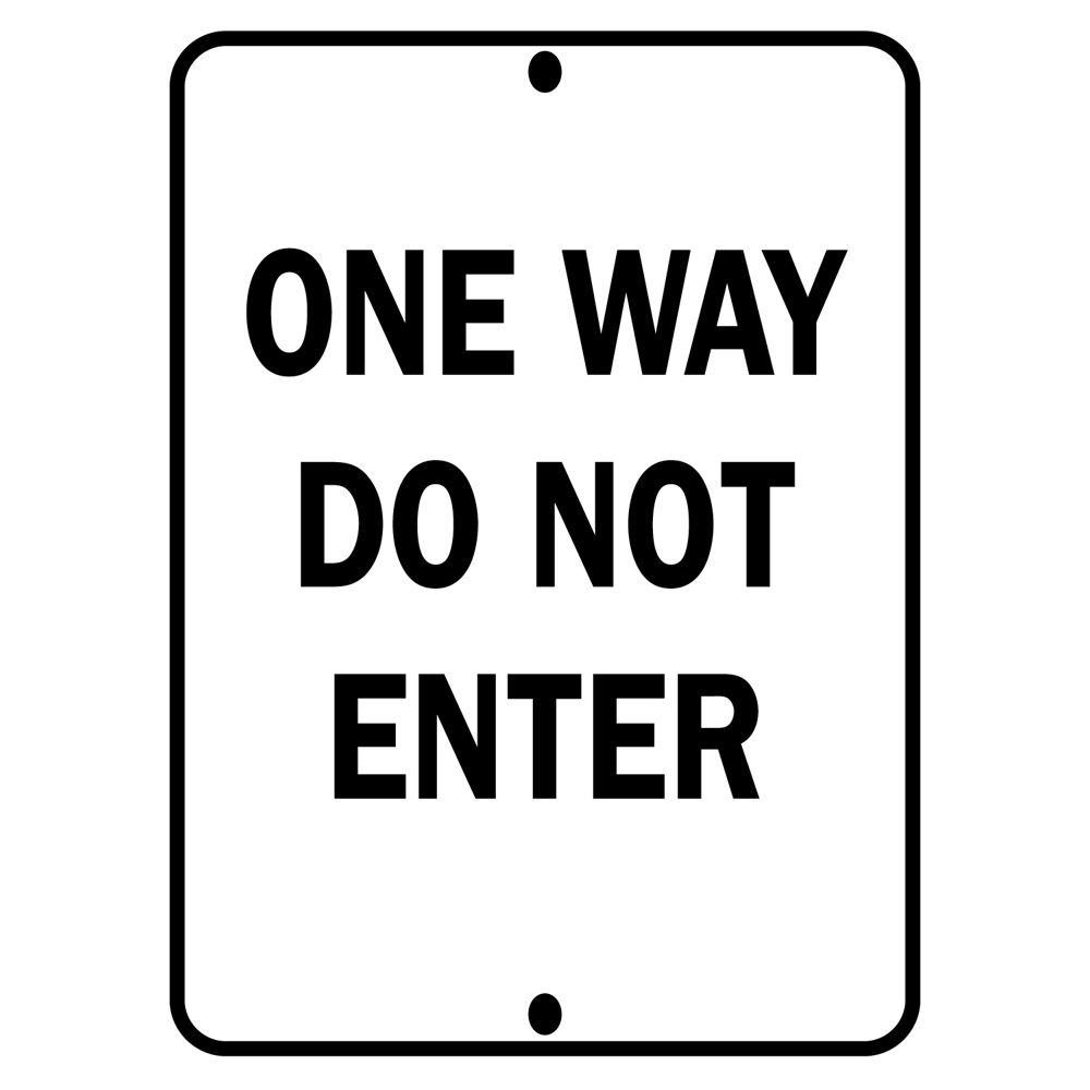 Brady 24 in. x 18 in. Aluminum One Way Do Not Enter Sign, Black Alert drivers of directional traffic with help from the Brady Traffic Sign 24 in. x 18 in. Aluminum One Way Do Not Enter Sign. This sign is constructed from reflective aluminum and features black lettering.