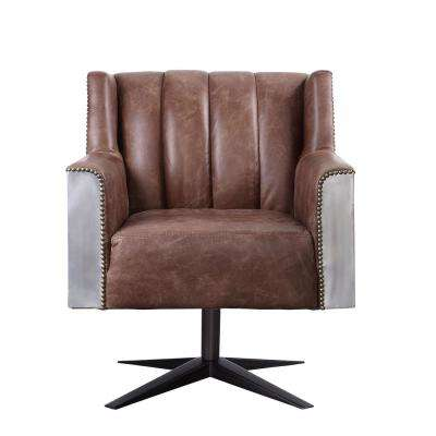 Brancaster Retro Brown Top Grain Leather And Aluminum Executive Office Chair