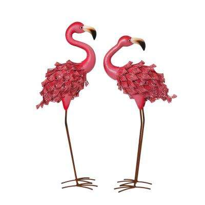 34.6 in. Tall Pink Metal Flamingo Figurines (2-Set)