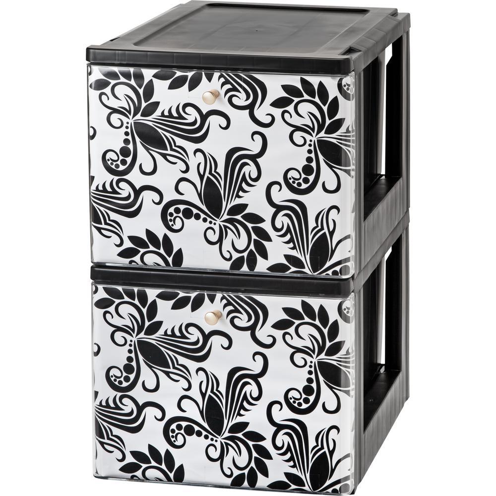 Black Stacking File Storage Drawer With Design